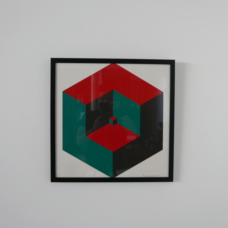 Dutch Midcentury Geometric Signed Print Artwork 'No.4' For Sale