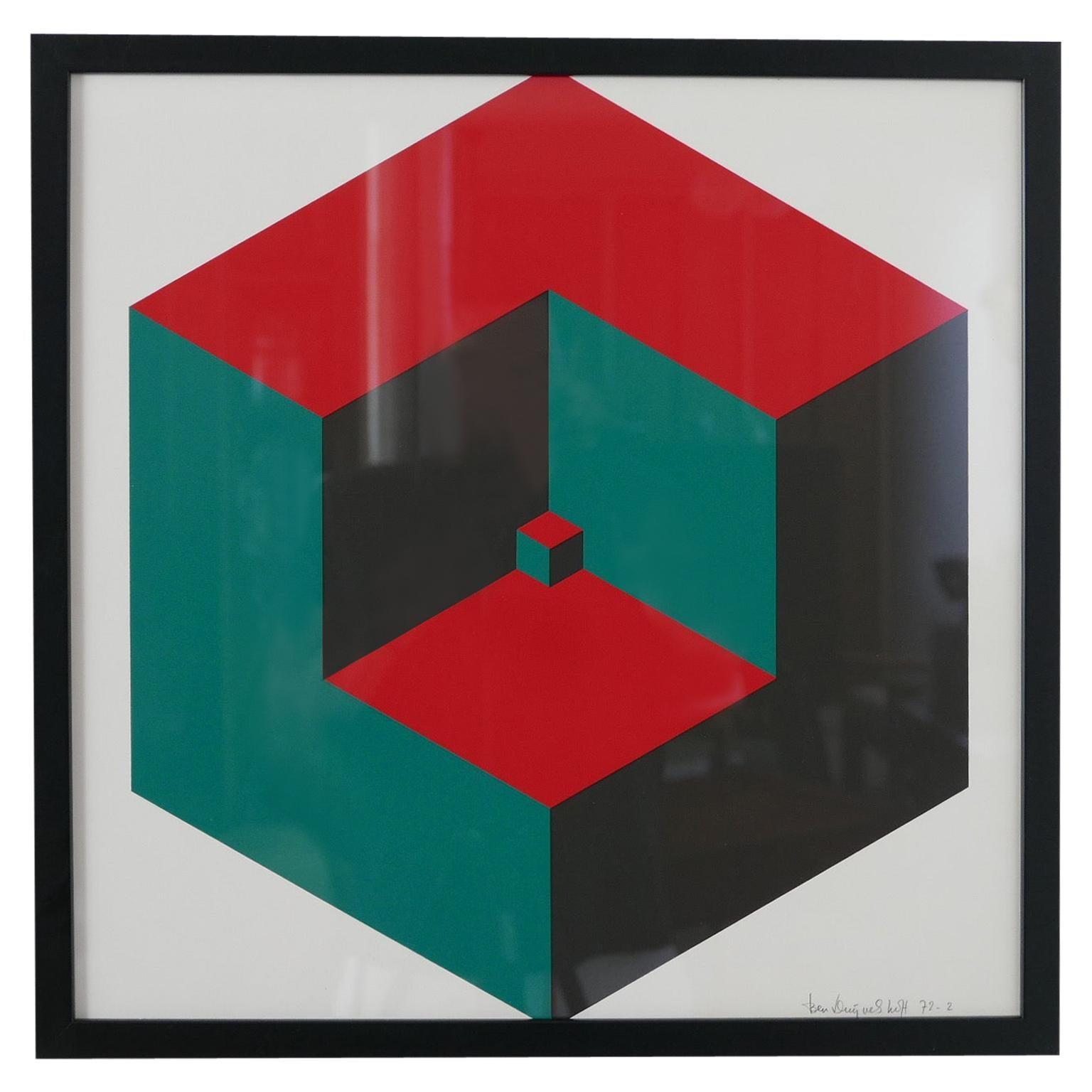 Midcentury Geometric Signed Print Artwork 'No.4'