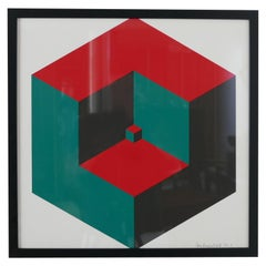 Midcentury Geometric Signed Print Artwork 'No.4'