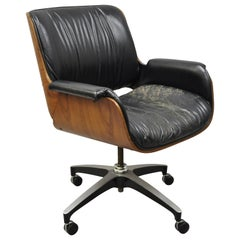 Midcentury George Mulhauser Plycraft Black Leather Bentwood Office Desk Chair