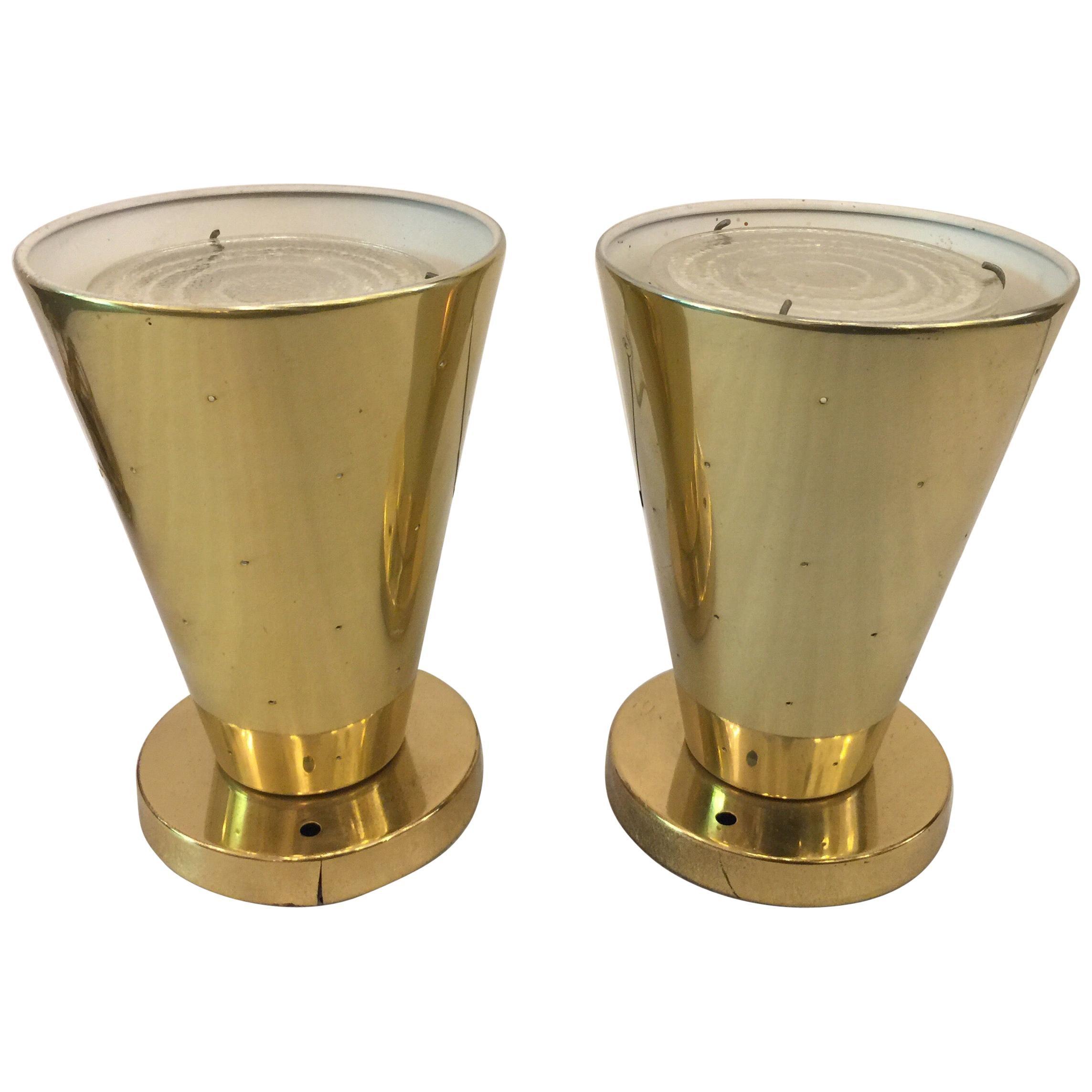 Midcentury Gerald Thurston for Lightolier Ceiling Cone Fixtures, Pair