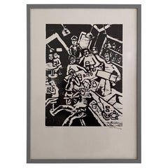 Midcentury German Black and White Framed Linocut Showing a Bar Scene, 1970s