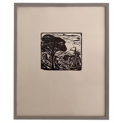 Midcentury German Black and White Framed Linocut Showing a Landscape, 1970s