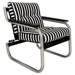 Mid Century German Chrome Cantilever Armchair in Black and White Stripes, 1970s