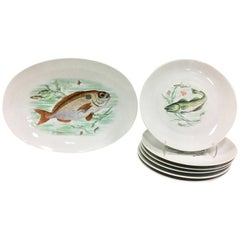 Mid-Century German Porcelain Hand-Painted Fish Service Set Of 7 By, JKW
