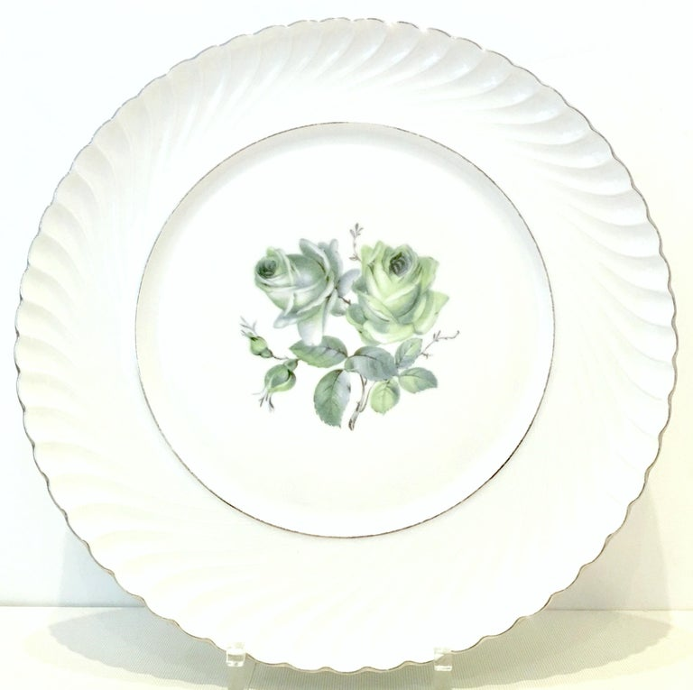 Midcentury German Porcelain & Platinum Dinnerware by, Royal Tettau, Set of 12 In Good Condition For Sale In West Palm Beach, FL
