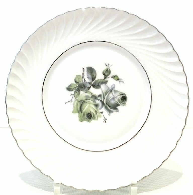 20th Century Midcentury German Porcelain & Platinum Dinnerware by, Royal Tettau, Set of 12 For Sale