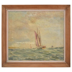 Mid Century German Ship Sea Oil Painting in the Original Wooden Frame, 1956