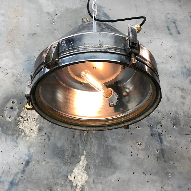 Late 20th Century Midcentury German VEB Industrial Iron and Aluminium Pendant with Edison Bulb For Sale