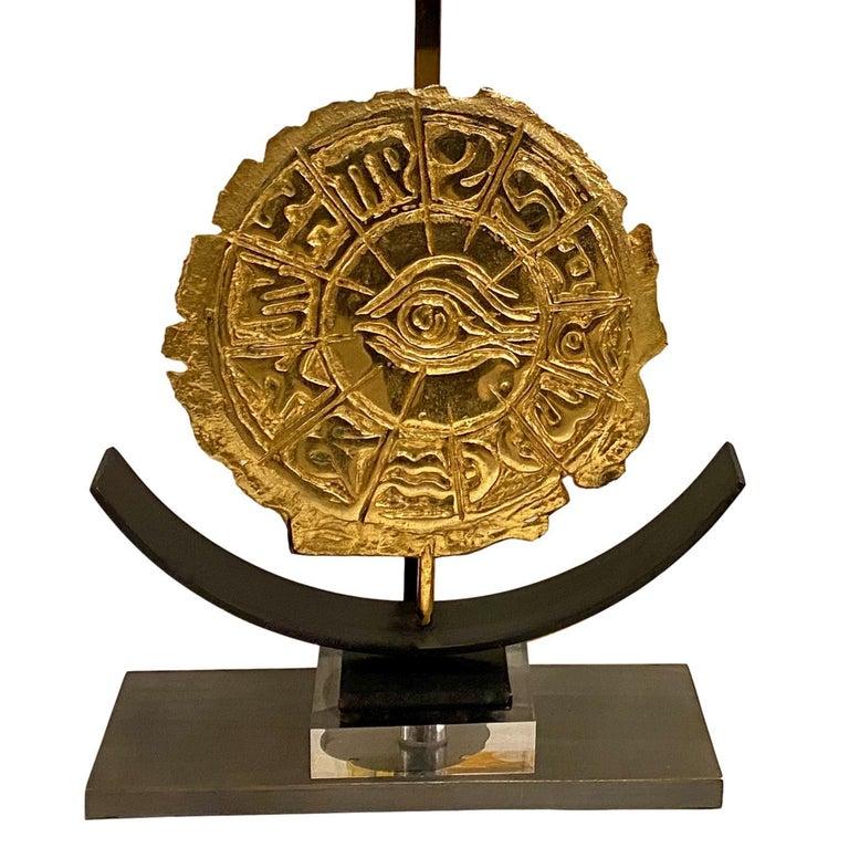 A circa 1950's Italian gilt bronze table lamp.  Measurements: Height of body: 14