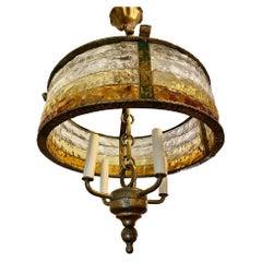 Mid Century Gilt Iron and Art Glass Light Fixture