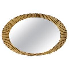 Mid Century Gilt Lacquer 'Eyelash' Segmented Mirror