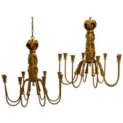 Midcentury Gilt Metal and Gesso Eight-Branch Chandelier