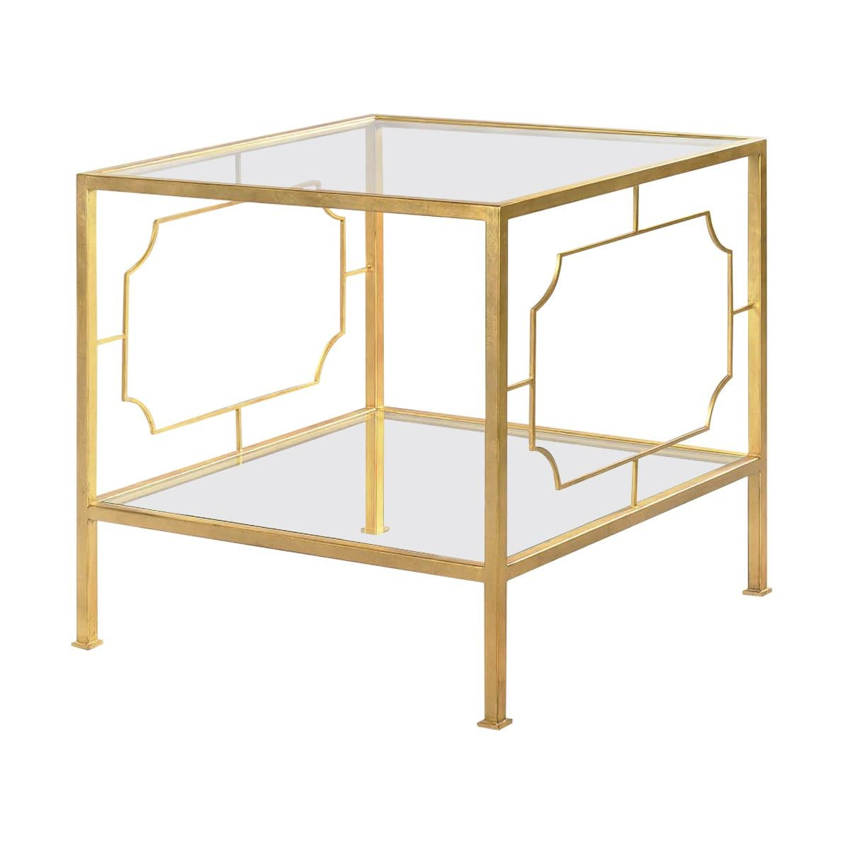 Midcentury Gilt Square Side Table