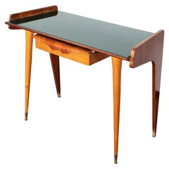 Midcentury Gio Ponti Maple Wood Console with Green Glass, Italy, 1950s
