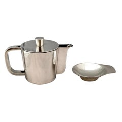 Mid-Century Gio Ponti Silver Plated Coffee Pot and tiny Dish for Arthur Krupp