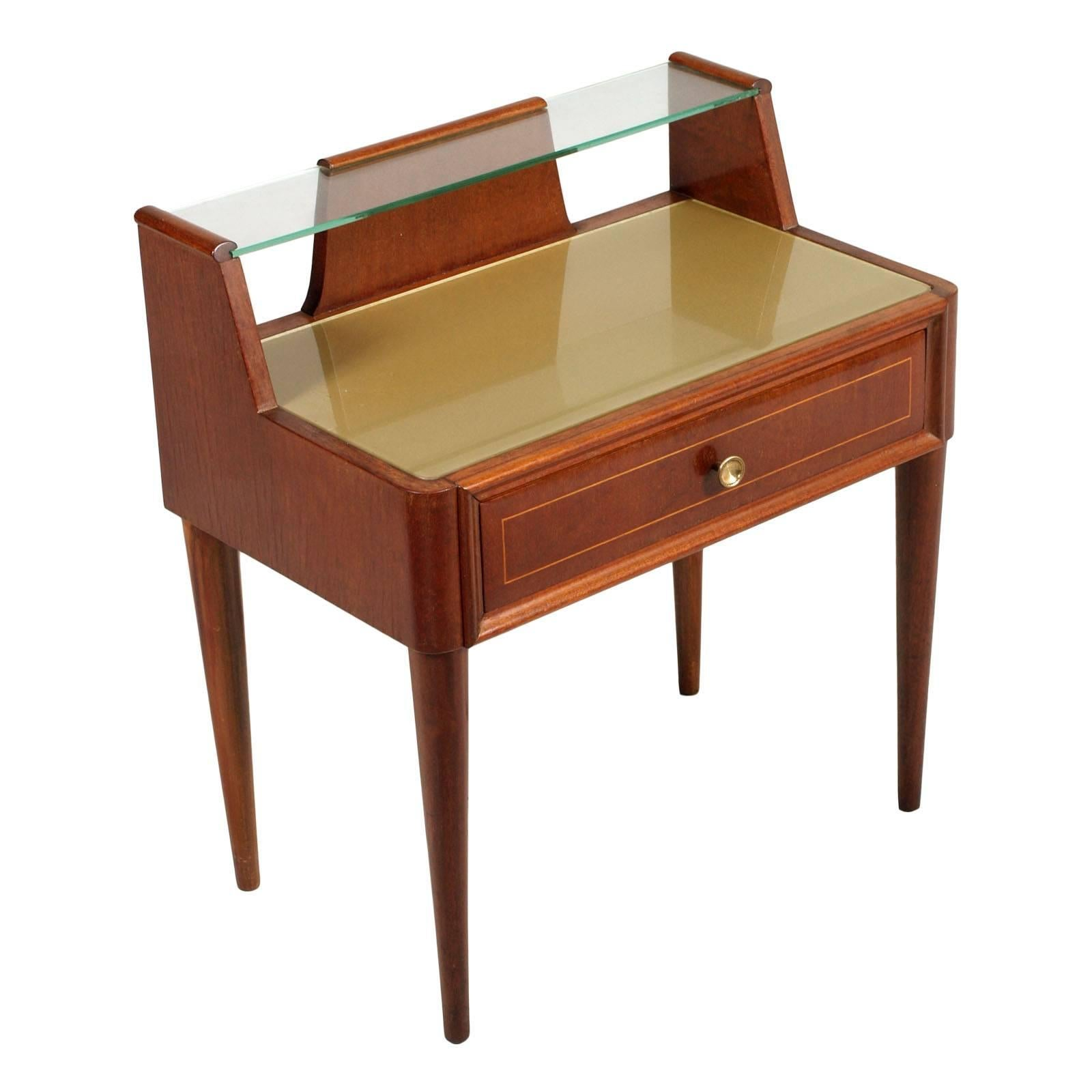 Italy Gio Ponti manner Nightstand in Walnut, Crystal Tops, by Brugnoli Mobili