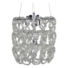 Midcentury Giogali Glass Link Chandelier by Mangiarotti for Vistosi