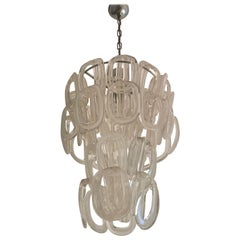 """Mid Century """"Giogali"""" Pendant Lamp in Glass by Angelo Mangiarotti, Italy 1968s"""