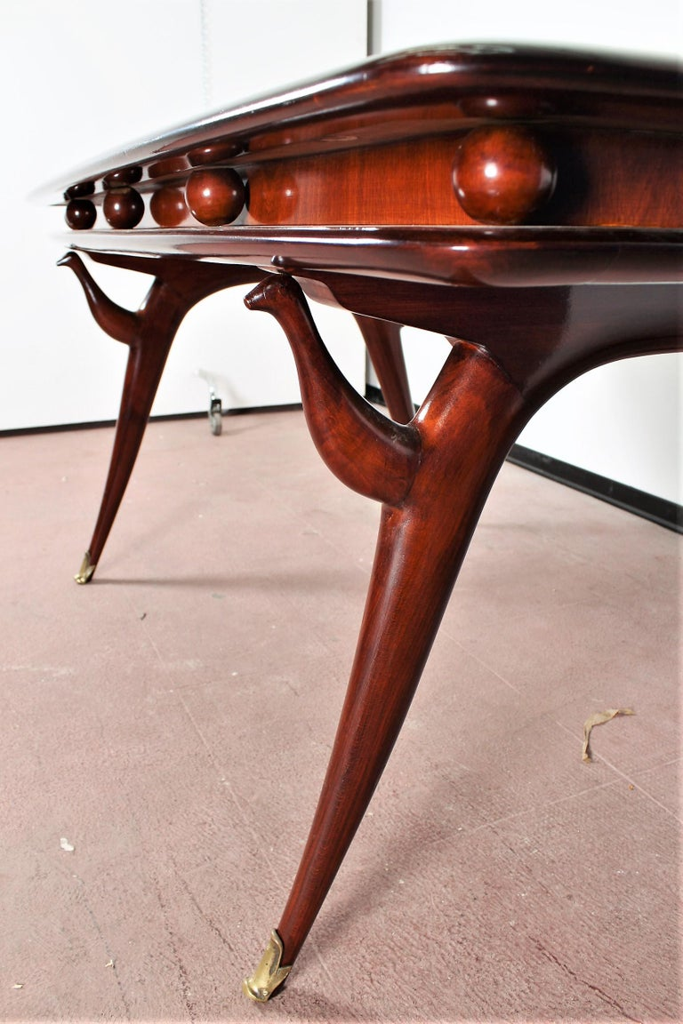 Midcentury Giuseppe Anzani Brown Rectangular Wooden Table, Italy, 1950 For Sale 4