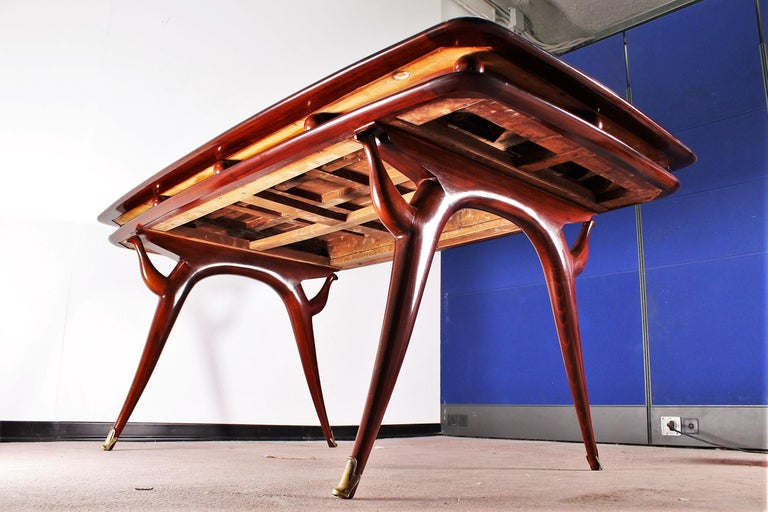 Midcentury Giuseppe Anzani Brown Rectangular Wooden Table, Italy, 1950 For Sale 10