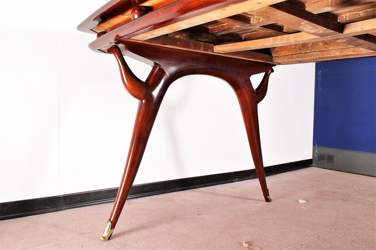 Midcentury Giuseppe Anzani Brown Rectangular Wooden Table, Italy, 1950 For Sale 11