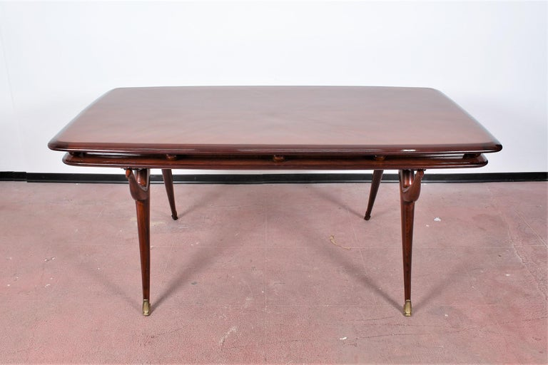Mid-Century Modern Midcentury Giuseppe Anzani Brown Rectangular Wooden Table, Italy, 1950 For Sale
