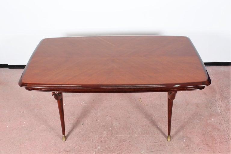 Italian Midcentury Giuseppe Anzani Brown Rectangular Wooden Table, Italy, 1950 For Sale