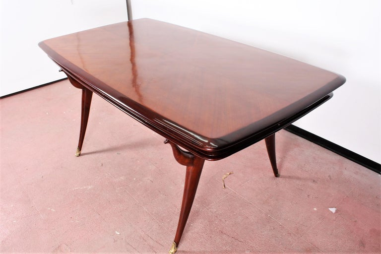 Midcentury Giuseppe Anzani Brown Rectangular Wooden Table, Italy, 1950 In Good Condition For Sale In Palermo, IT