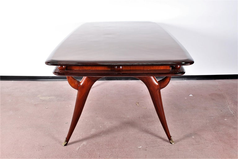 Midcentury Giuseppe Anzani Brown Rectangular Wooden Table, Italy, 1950 For Sale 1