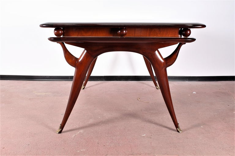Midcentury Giuseppe Anzani Brown Rectangular Wooden Table, Italy, 1950 For Sale 2