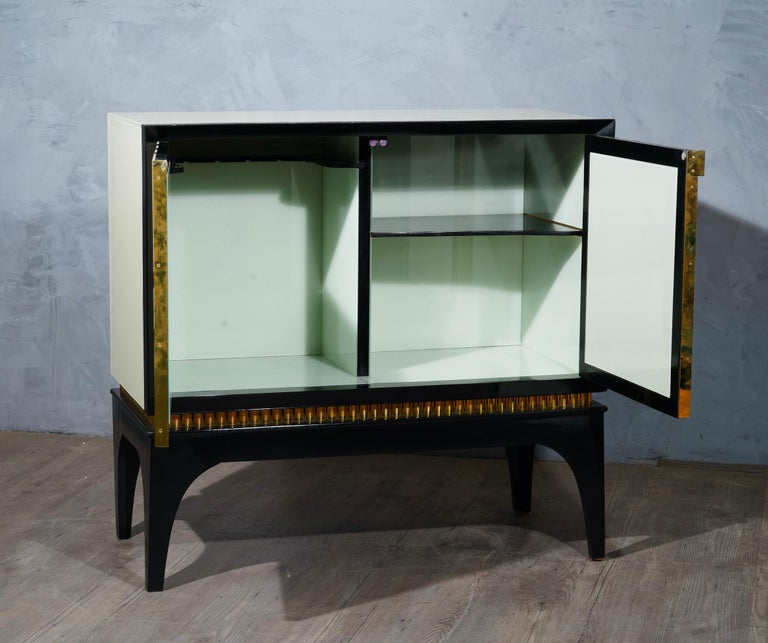 Mid-Century Glass and Brass Italian Sideboard, 1980 In Good Condition For Sale In Rome, IT