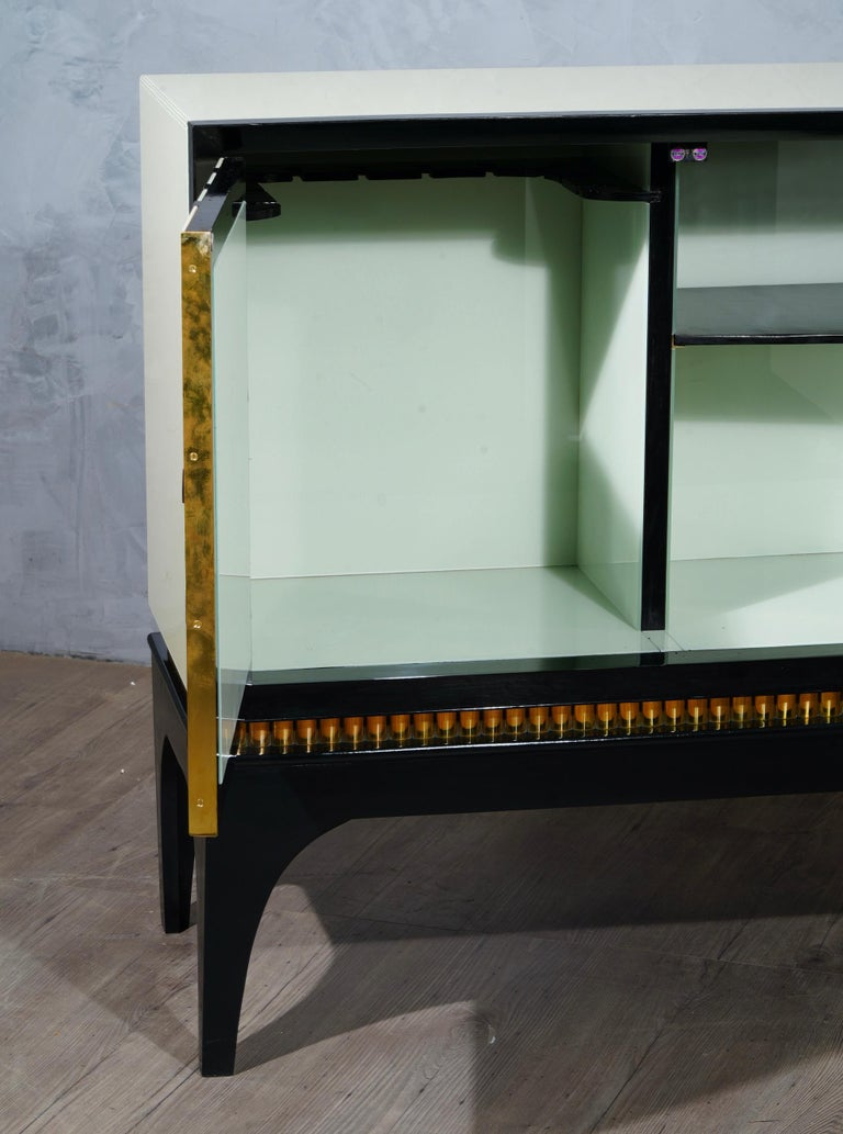 Late 20th Century Mid-Century Glass and Brass Italian Sideboard, 1980 For Sale