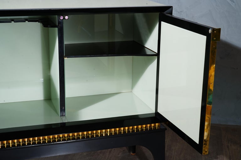Mid-Century Glass and Brass Italian Sideboard, 1980 For Sale 2