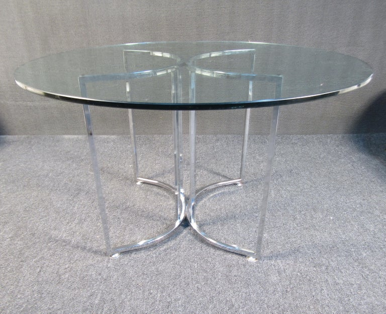 Mid-Century Modern Midcentury Glass and Chrome Dining Set For Sale