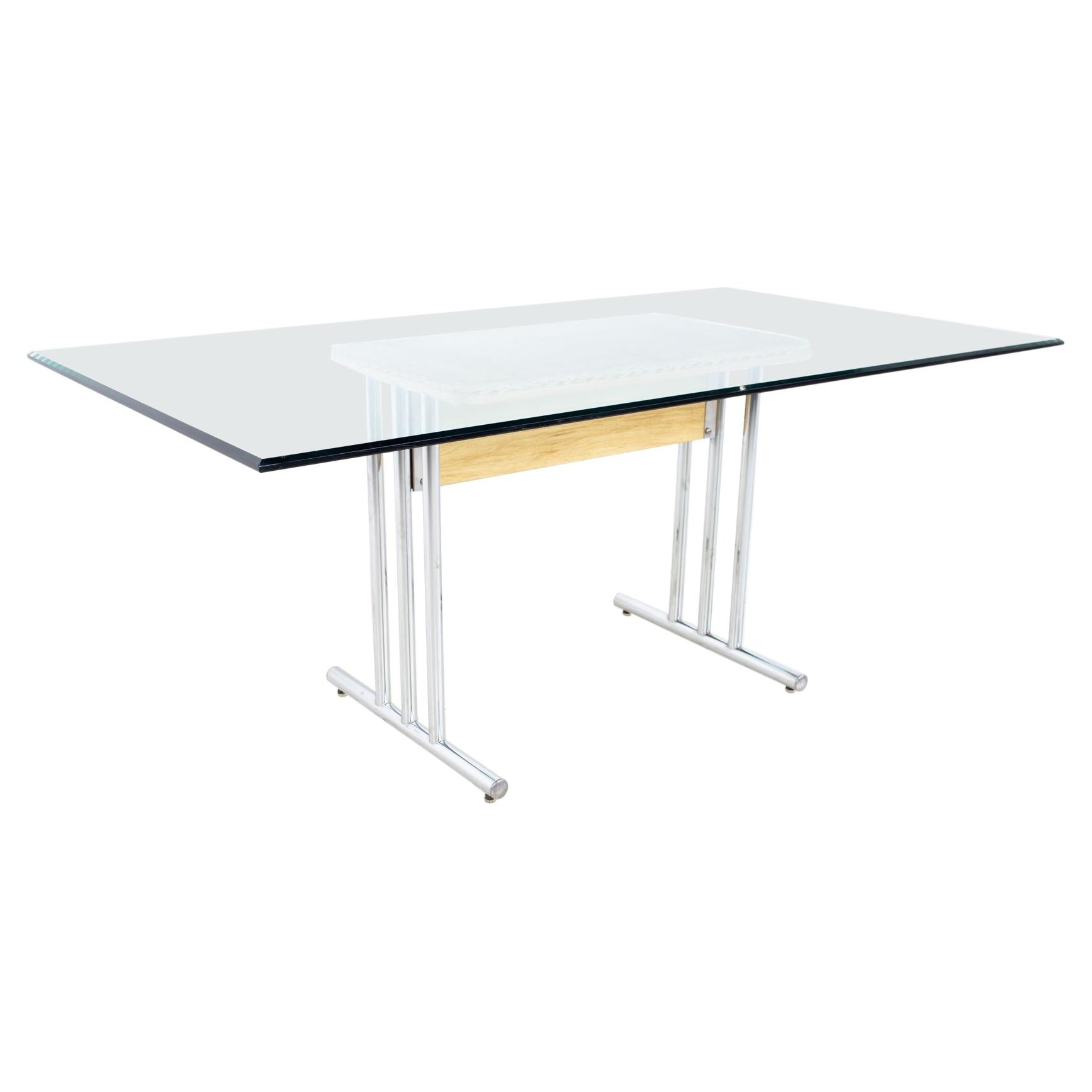 Mid Century Glass and Chrome Dining Table