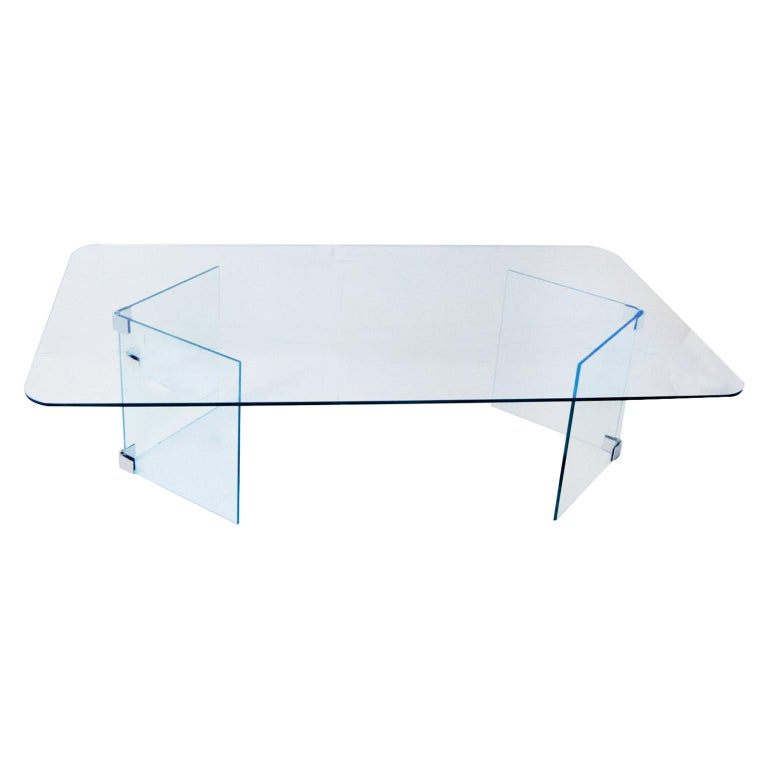 Hollywood Regency Midcentury Glass and Nickle-Plated Coffee Table Pace For Sale