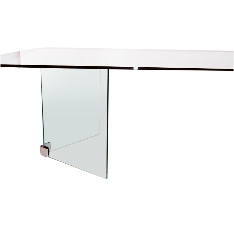 Midcentury Glass and Nickle-Plated Coffee Table Pace For Sale 2