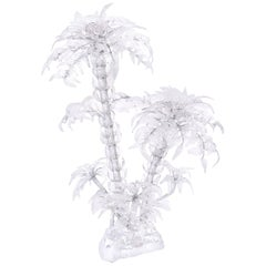 Mid Century Glass and Twisted Metal Palm Tree Sculpture