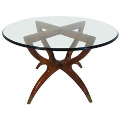 Midcentury Glass and Wood Side Table