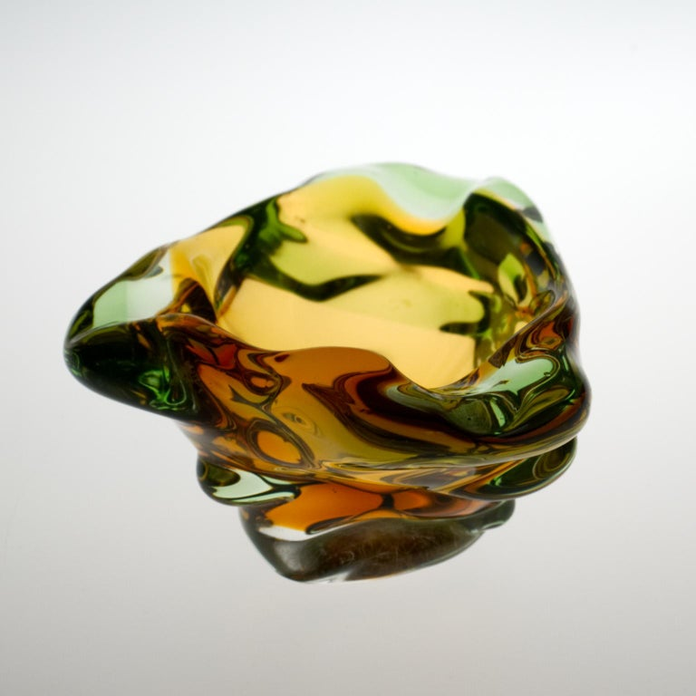 Czech Mid Century Glass Ashtray by Frantisek Zemek for Mstišov Glassworks, 1960s For Sale