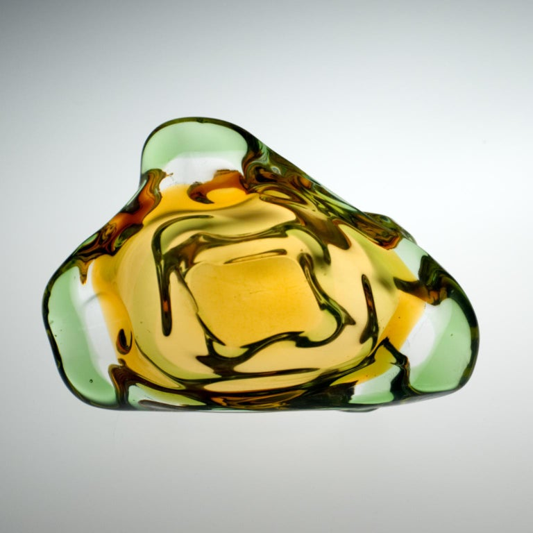 20th Century Mid Century Glass Ashtray by Frantisek Zemek for Mstišov Glassworks, 1960s For Sale