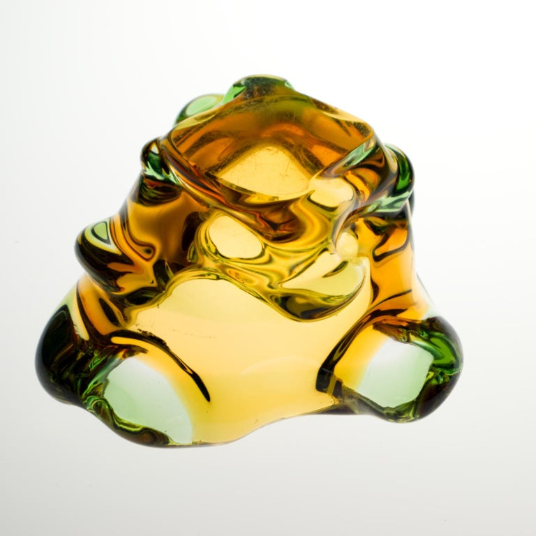 Mid Century Glass Ashtray by Frantisek Zemek for Mstišov Glassworks, 1960s For Sale 2