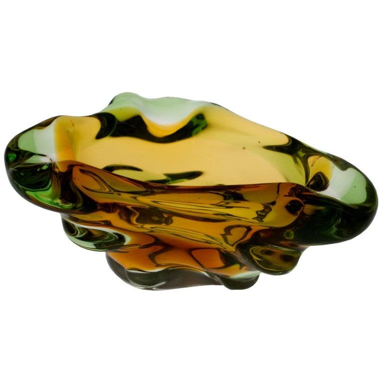Mid Century Glass Ashtray by Frantisek Zemek for Mstišov Glassworks, 1960s For Sale