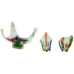 Mid-Century Glass Bowl by Frantisek Zemek for Mstisov Glass Factory set of 3