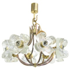 Midcentury Glass and Brass Chandelier by Sische, circa 1960s