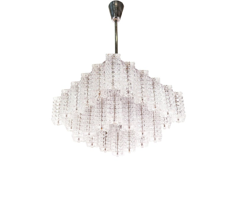 Mid-Century Modern Square Chandelier Glass & Chrome by Austrolux, Vienna, 1960s For Sale