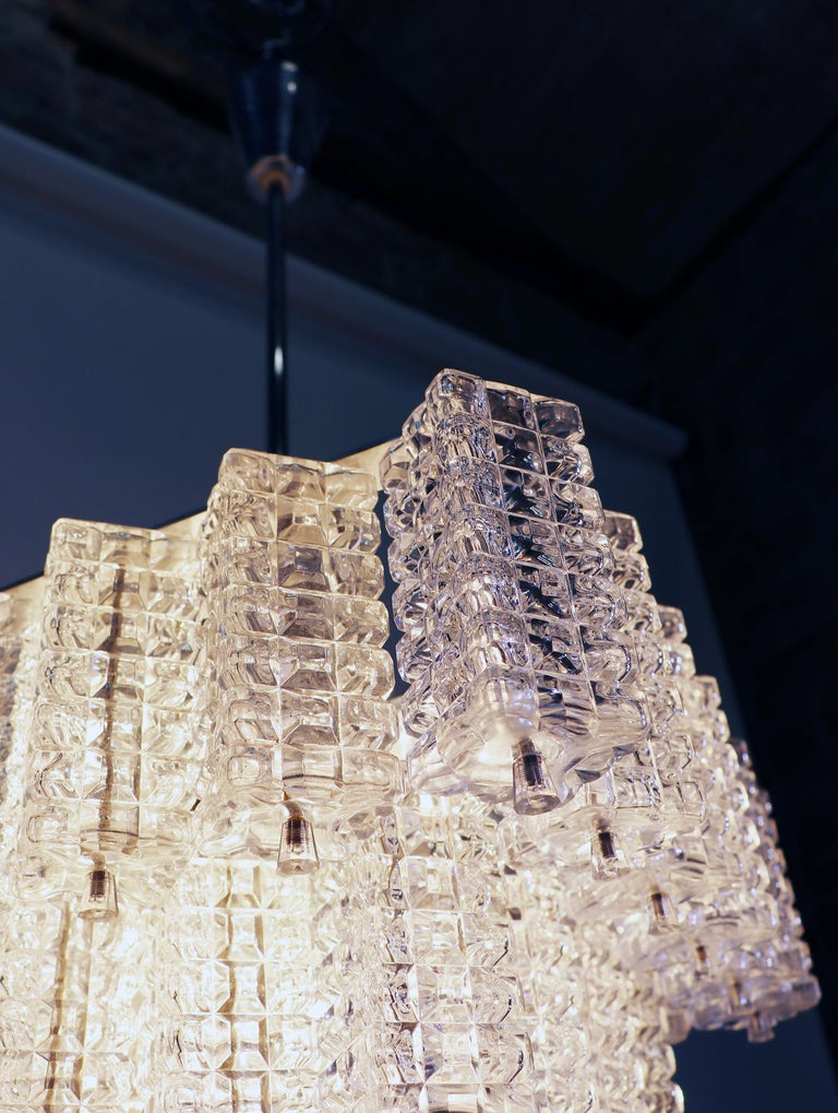 Mid-20th Century Square Chandelier Glass & Chrome by Austrolux, Vienna, 1960s For Sale