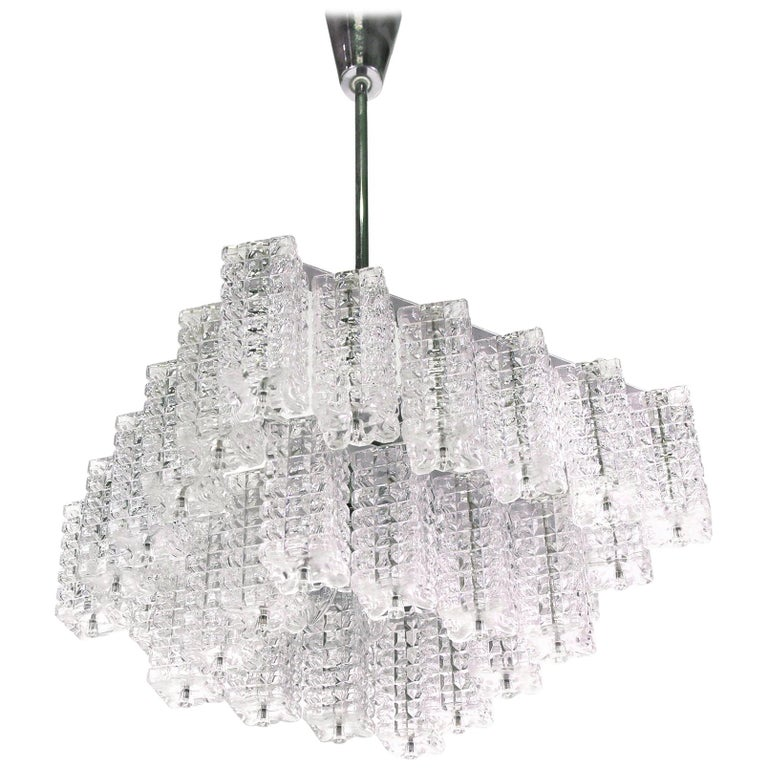 Square Chandelier Glass & Chrome by Austrolux, Vienna, 1960s For Sale