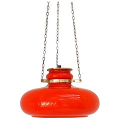 Mid-Century Glass Pendant in Orange Danish Design by Vitrika, 1960s